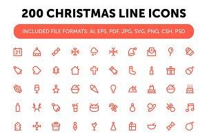 200 Christmas Line Icons