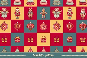 Seamless pattern. Christmas toy.