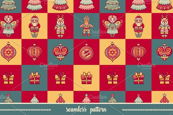 Seamless pattern. Christmas toy. - Textures