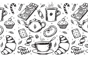 Abstract tea and coffee time vector