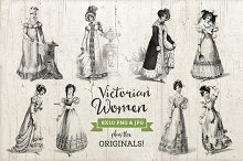 Victorian Fashion Illustrations PNG