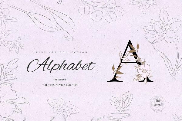 Floral. Letters & Illustrations pack