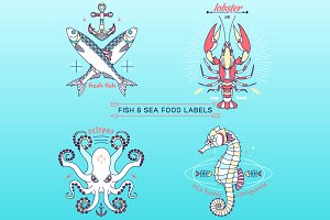 Thin line fish and sea food labels