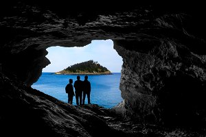 Island view from a cave