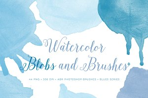 Watercolor Blob PS Brushes and PNG