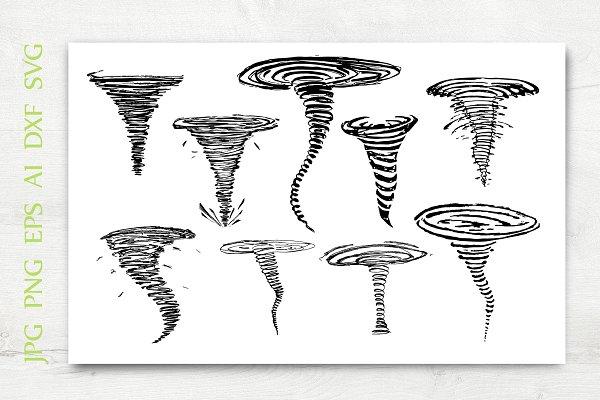Vector Hand Drawn Tornado Set