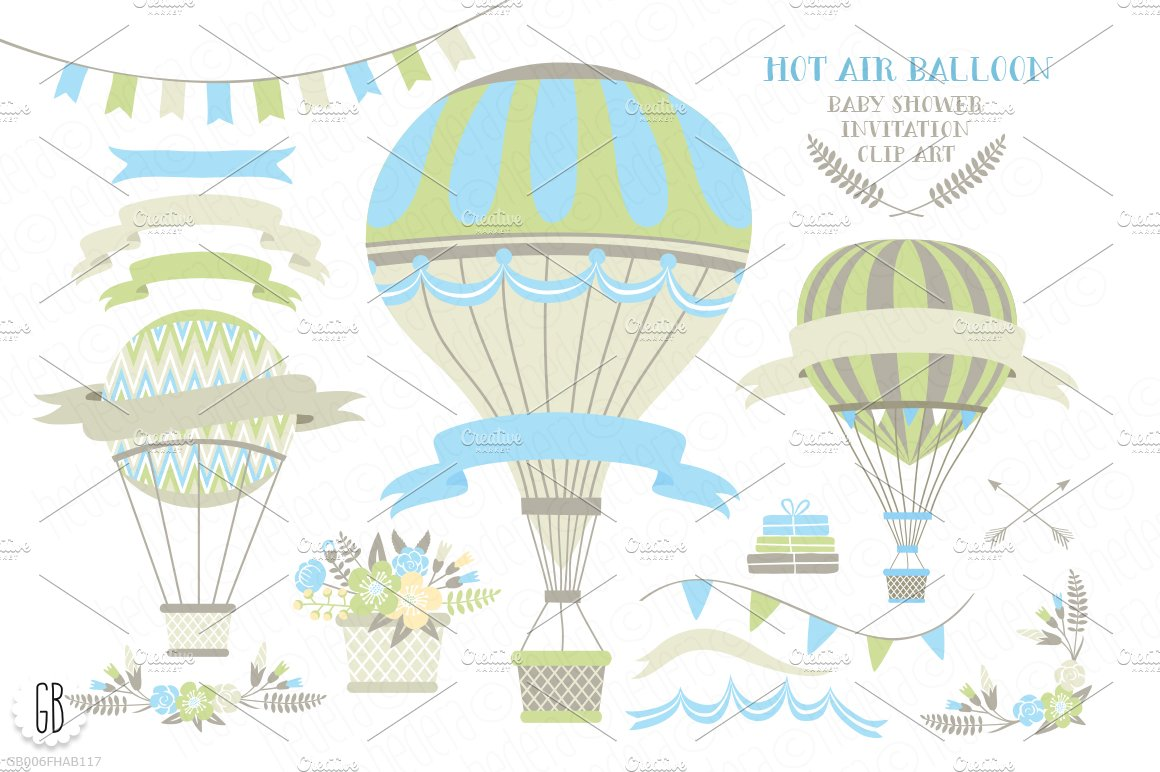 Hot Air Balloon Baby Shower Invite  Illustrations -1685