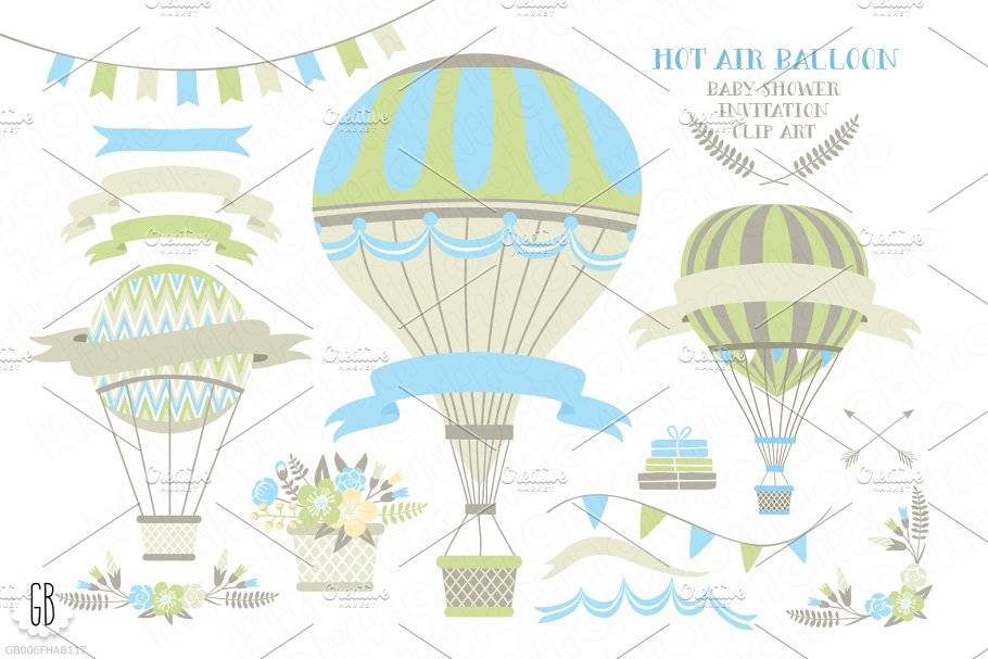Hot Air Balloon Baby Shower Invite Illustrations Creative Market