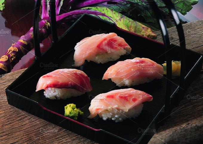 Japanese sushi on a black background.jpg - Photos