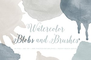 Watercolor blobs PS Brushes Set