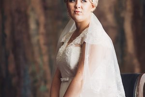 Portrait of  bride  on the classic