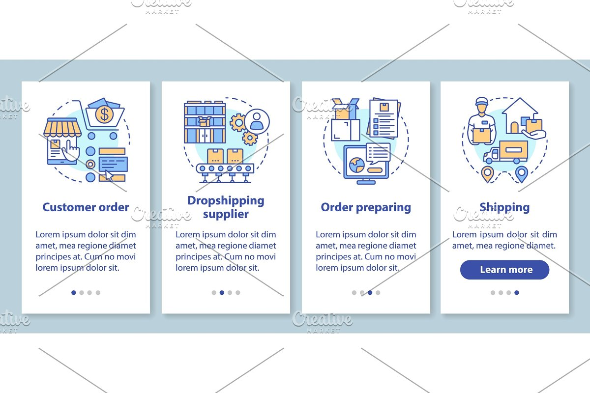 Dropshipping mobile app pages