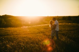 Romantic couple standing  and kiss
