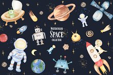 Watercolor Cute Space Collection