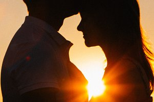 Romantic silhouette  couple