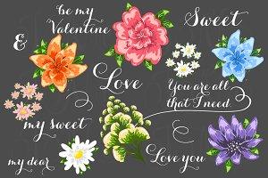 23 unique Wedding Floral clipart