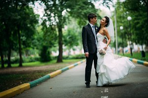 beautiful young couple stand