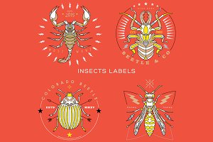 Thin line insect labels
