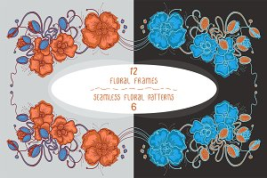 12 floral frames & 6 patterns