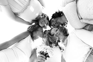 black and  white photo bridesmaids