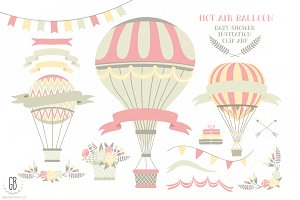 Pink hot air balloons clip art