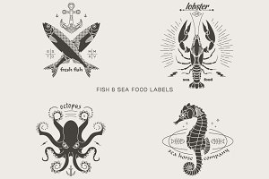 Vintage fish and sea food labels