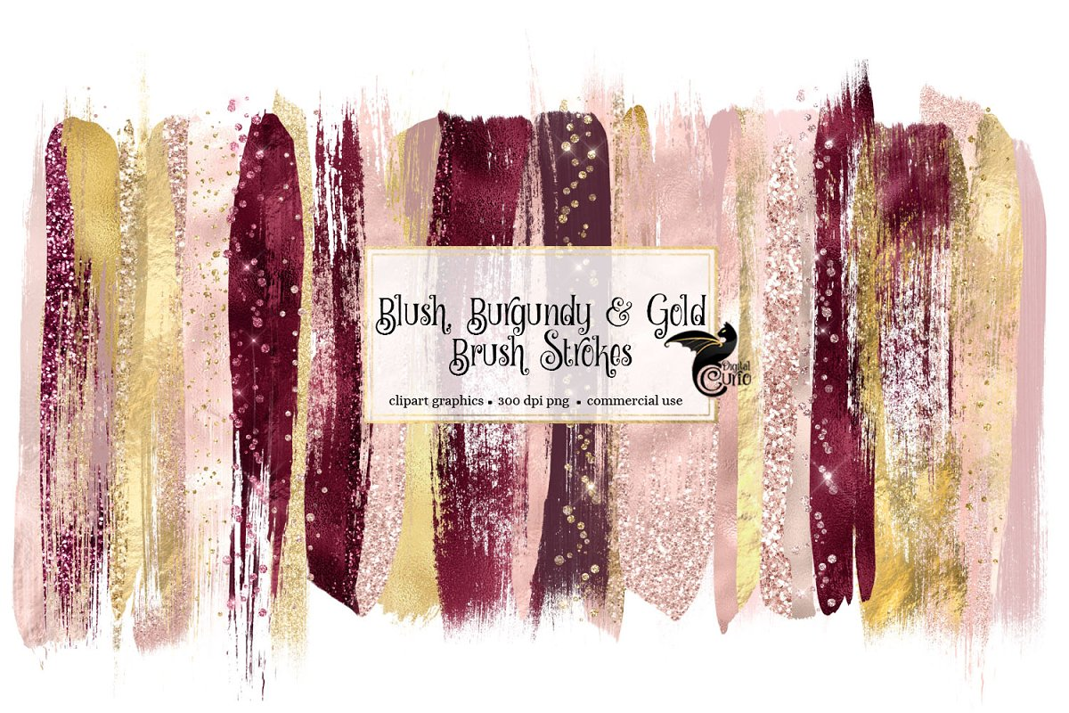 Blush Burgundy & Gold Brush Strokes