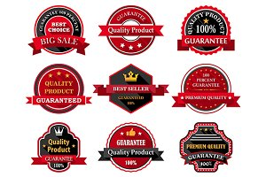 Flat quality product guarantee badge