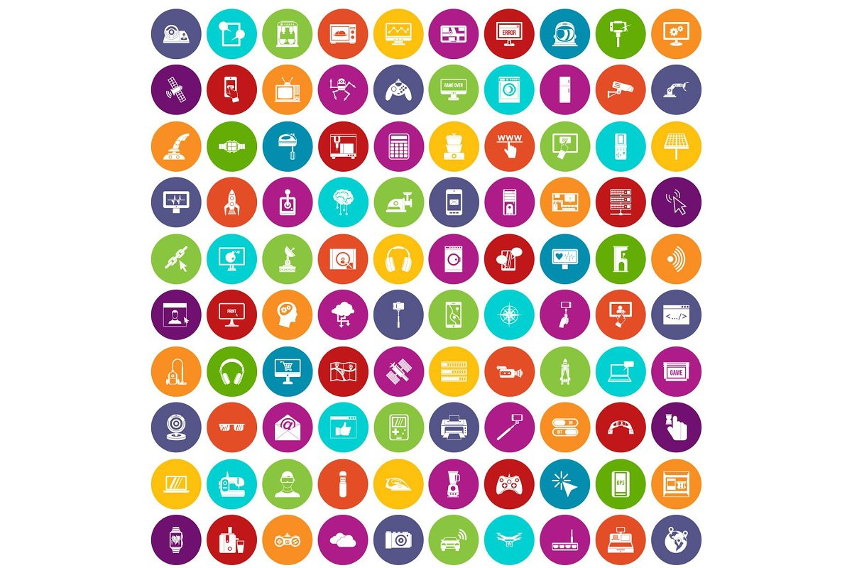 100 software icons set color in Illustrations - product preview 8