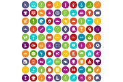 100 sport club icons set color