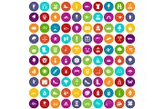 100 spring icons set color