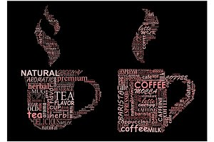 Cups of coffee and tea formed from t