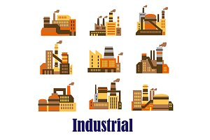 Flat industrial icons of plants and