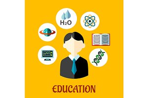 Education flat infographics template