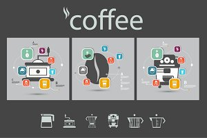 Set vector icons of coffee