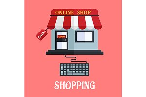 Online shopping flat design