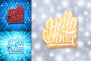Hello winter. Vector banners set