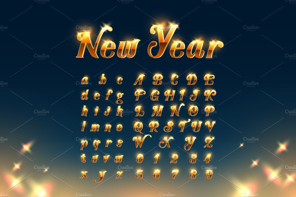 Happy New Year with Beautiful Font ~ Display Fonts ~ Creative Market