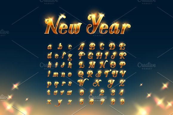 Happy New Year with Beautiful Font