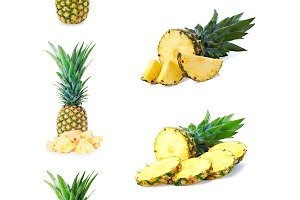 Set of fresh pineapple fruits with c