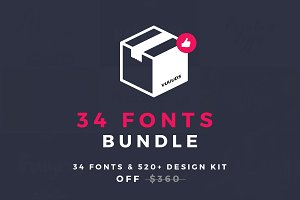 Max Bundle (34 Fonts + 520 Vector)