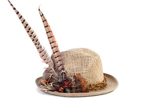 Hunting hat with pheasant feathers i