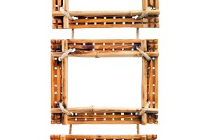 Three bamboo photo frames isolated o
