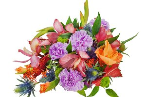 Colorful floral bouquet of roses, cl