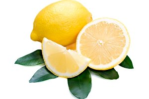 Fresh lemon citrus with cut and gree