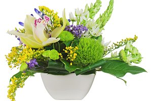 Bouquet from orchids in white vase i