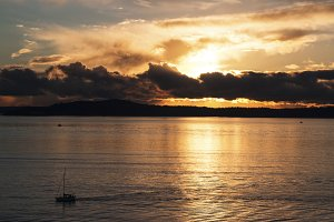 Puget Sound at Sunset with Boat