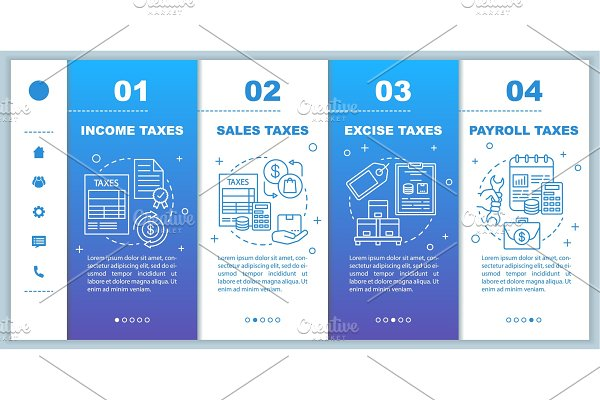 US Taxes types onboarding mobile web