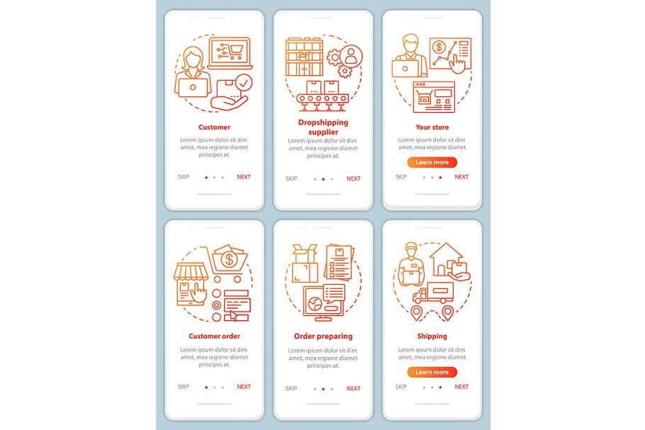 Dropshipping red mobile app pages