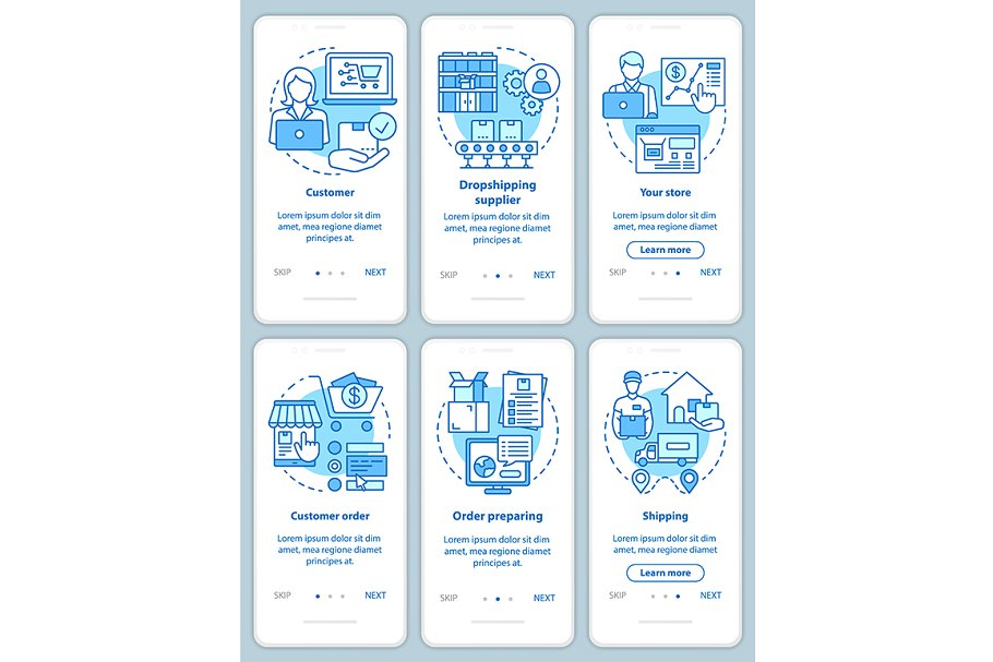 Dropshipping blue mobile app pages